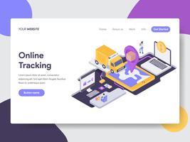 Målsida mall för Concept för leverans av spårning av online-leverans. Isometrisk plattformkoncept för webbdesign för webbplats och mobilwebbplats. Vektorns illustration vektor
