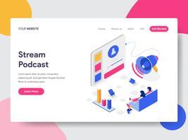 Målsida mall av Stream Podcast Isometric Illustration Concept. Isometrisk plattformkoncept för webbdesign för webbplats och mobilwebbplats. Vektorns illustration