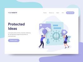 Målsida mall för Protected Ideas Illustration Concept. Isometrisk plattformkoncept för webbdesign för webbplats och mobilwebbplats. Vektorns illustration