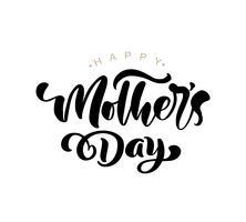 Glücklicher Muttertag, der schwarzen Vektorkalligraphietext beschriftet. vektor