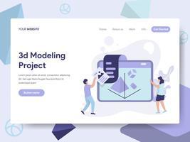 Målsida mall för 3D Printing Modeling Illustration Concept. Isometrisk plattformkoncept för webbdesign för webbplats och mobilwebbplats. Vektorns illustration