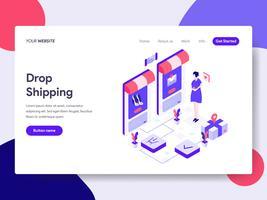 Målsida mall för Drop Shipping Illustration Concept. Isometrisk plattformkoncept för webbdesign för webbplats och mobilwebbplats. Vektorns illustration