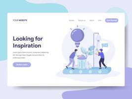 Målsidans mall för att leta efter idéer och inspirationsillustrationskoncept. Isometrisk plattformkoncept för webbdesign för webbplats och mobilwebbplats. Vektorns illustration vektor