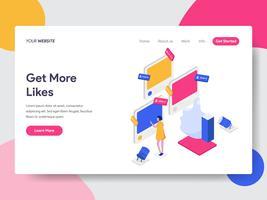 Målsida mall Få mer som isometrisk illustration koncept. Isometrisk plattformkoncept för webbdesign för webbplats och mobilwebbplats. Vektorns illustration vektor