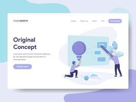 Målsida mall för Original Concept Illustration Concept. Isometrisk plattformkoncept för webbdesign för webbplats och mobilwebbplats. Vektorns illustration vektor