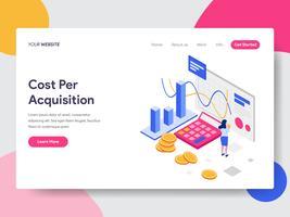 Målsidans mall för Isometric Illustration Concept för kostnad per förvärv. Isometrisk plattformkoncept för webbdesign för webbplats och mobilwebbplats. Vektorns illustration vektor