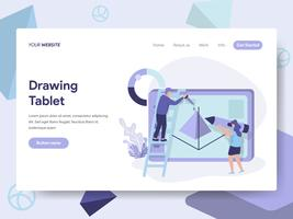 Målsida mall Ritning Tablet Illustration Concept. Isometrisk plattformkoncept för webbdesign för webbplats och mobilwebbplats. Vektorns illustration