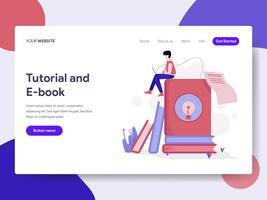 Målsida mall för handledning och e-boks illustration koncept. Isometrisk plattformkoncept för webbdesign för webbplats och mobilwebbplats. Vektorns illustration vektor