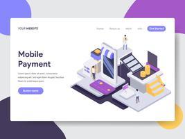 Målsida mall för Mobile Payment Illustration Concept. Isometrisk plattformkoncept för webbdesign för webbplats och mobilwebbplats. Vektorns illustration