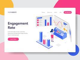 Målsida mall för Förlovningsfrekvens Isometric Illustration Concept. Isometrisk plattformkoncept för webbdesign för webbplats och mobilwebbplats. Vektorns illustration