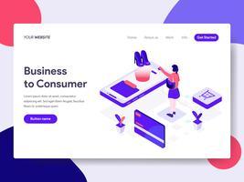 Målsida mall för Business to Consumer Illustration Concept. Isometrisk plattformkoncept för webbdesign för webbplats och mobilwebbplats. Vektorns illustration vektor