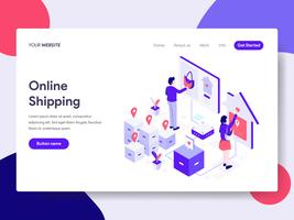 Målsida mall för Online Shopping Illustration Concept. Isometrisk plattformkoncept för webbdesign för webbplats och mobilwebbplats. Vektorns illustration