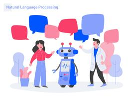 Naturligt språkbehandlingsillustrationskoncept. Modernt plattdesignkoncept av webbdesign för webbplats och mobilwebbplats. Vektorns illustration