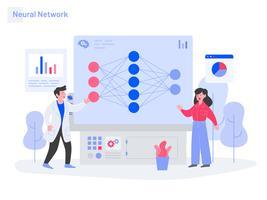 Neuronales Netz-Illustrations-Konzept. Modernes flaches Konzept des Entwurfs des Webseitendesigns für Website und bewegliche Website. Vektorillustration