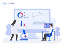 Data Science Illustration Konzept. Modernes flaches Konzept des Entwurfs des Webseitendesigns für Website und bewegliche Website. Vektorillustration