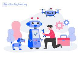 Robotik-Technik-Illustrations-Konzept. Modernes flaches Konzept des Entwurfs des Webseitendesigns für Website und bewegliche Website. Vektorillustration