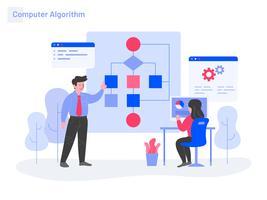 Computer Algoritm Illustration Concept. Modernt plattdesignkoncept av webbdesign för webbplats och mobilwebbplats. Vektorns illustration