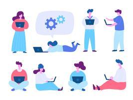 Människor som använder bärbar dator och dator medan sittande och stående bildsätt. Modernt plattdesignkoncept av webbdesign för webbplats och mobilwebbplats. Vektorns illustration