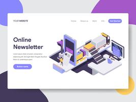 Målsida mall för Online Nyhetsbrev Mobile Illustration Concept. Isometrisk plattformkoncept för webbdesign för webbplats och mobilwebbplats. Vektorns illustration