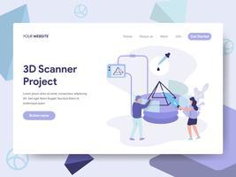 Målsida mall för 3D Scanner Illustration Concept. Isometrisk plattformkoncept för webbdesign för webbplats och mobilwebbplats. Vektorns illustration vektor
