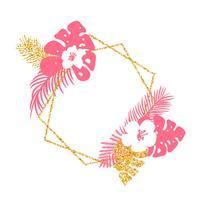Trendig sommar tropisk vektor ram med palm löv och plats för din text.