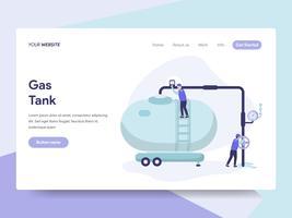 Målsida mall för Gas Tank Illustration Concept. Isometrisk plattformkoncept för webbdesign för webbplats och mobilwebbplats. Vektorns illustration vektor