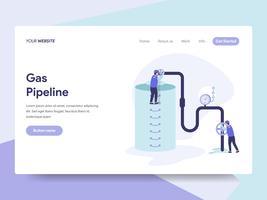 Målsida mall för gasledningens illustrationkoncept. Isometrisk plattformkoncept för webbdesign för webbplats och mobilwebbplats. Vektorns illustration