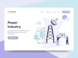 Målsida mall för Power Industry Illustration Concept. Isometrisk plattformkoncept för webbdesign för webbplats och mobilwebbplats. Vektorns illustration vektor
