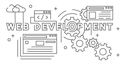 Web-Entwicklung Illustration. Website, die flache Linie Konzept des Entwurfes entwickelt. Jugend-Gekritzel-Art auf Schwarzweiss