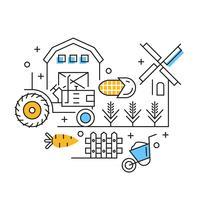 Landwirtschaft Illustration. Flache Linie Design mit orange und blauen Farben des Landwirtschaftsthemas. Konzept der Rohstoffindustrie