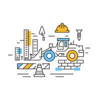 Aufbau Illustration. City Development Flat Line Design mit blauen und orangen Farben. Projekte und Branchen Doodle Style Vector