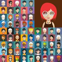 Avatarsammlung verschiedener männlicher und weiblicher Charaktere