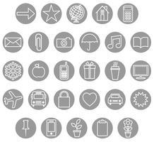 gråvit ikonuppsättning vektor