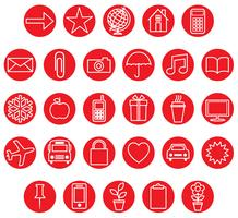 röd ikonuppsättning vektor
