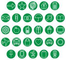 grön vit ikonuppsättning vektor