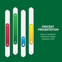 Företagsinfografisk procentuell streckmall med 4 alternativ vektor