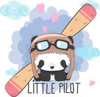 Gullig baby Panda på ett plan vektor