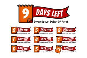 Antal dagar kvar med anteckning eller datumillustration inställd från nummer 9 till 0 eller idag
