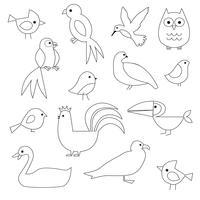 Fåglar Digital Frimärken Clipart