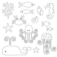 Sea Life Digital Frimärken Clipart