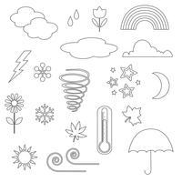 Väder Ikoner Digital Frimärken Clipart