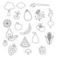 Frukt och Grönsaker Digital Frimärken Clipart