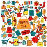 Shopping Doodle färgad uppsättning