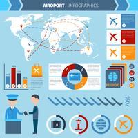 Flygplats Infographics Set