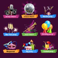 party emblems set vektor