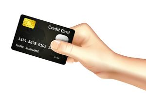 Hand, die Kreditkarteikone hält