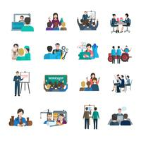 workshop platt ikoner uppsättning vektor