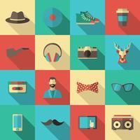 hipster platt ikonuppsättning