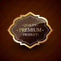 kvalitets premium produktdesign guld etikett märke