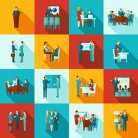Business Training Icons flachen Satz